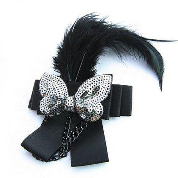 Elegant BlackFeather Embellished Sequin Bowknot For Women - AS THE PICTURE AS THE PICTURE