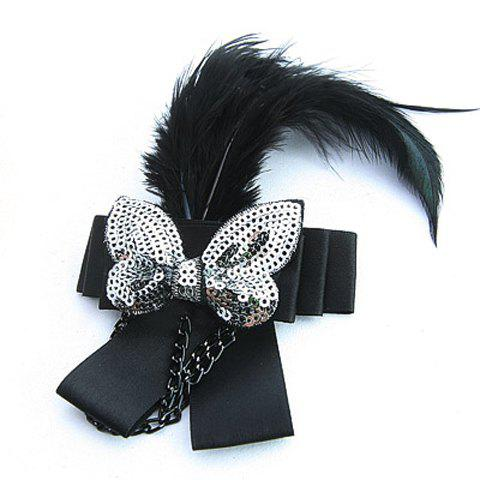 Elegant BlackFeather Embellished Sequin Bowknot For Women