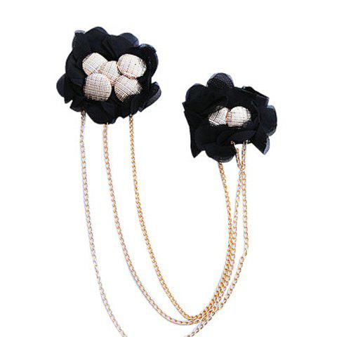 Exquisite Bead Embellished Black Lace Two Flowers Brooch For Women - AS THE PICTURE