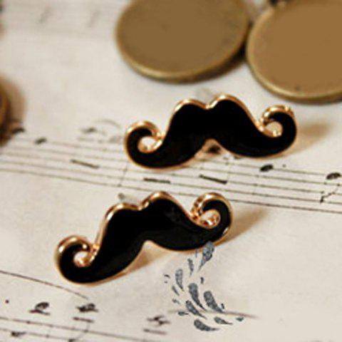 Cute Style Pair of Mustache Shape Women's Earrings -  BLACK