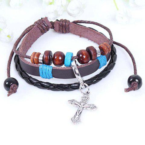 Cross Pendant Faux Leather Beading Bracelet - AS THE PICTURE