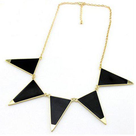 Sweet Cute Style Triangle Shape Pendant Embellished Necklace For Women - BLACK