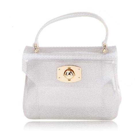 Cute Style Casual Candy Color and Twist-Lock Closure Design Women's Tote Bag - SILVER