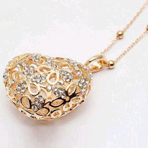 Sweet Hot Sale Style Openwork Heart Shape Pendant Rhinestone Embellished Sweater Chain Necklace For Women - GOLD