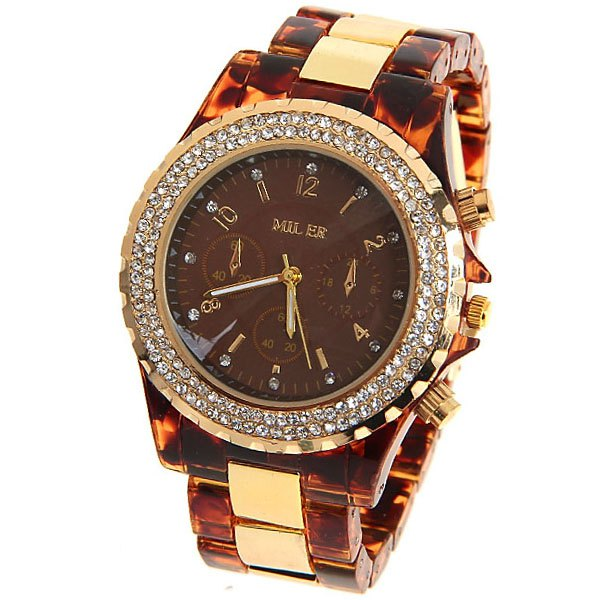 Miler Quartz Watch Number and Strips Indicate Round Dial with Steel and Plastic Watch Band for Women (Champagne) - CHAMPAGNE
