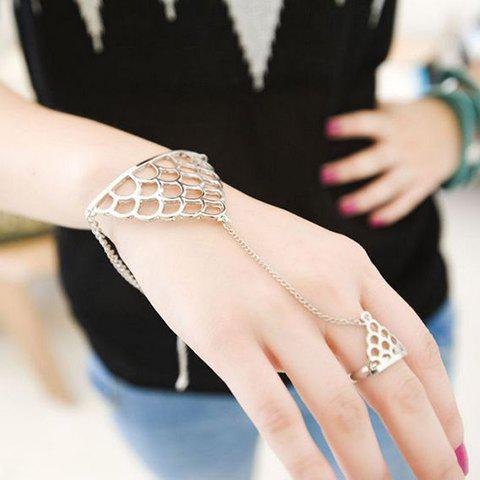 Rock Punk Style Fish Scale Shape Bracelet With Ring - SILVER