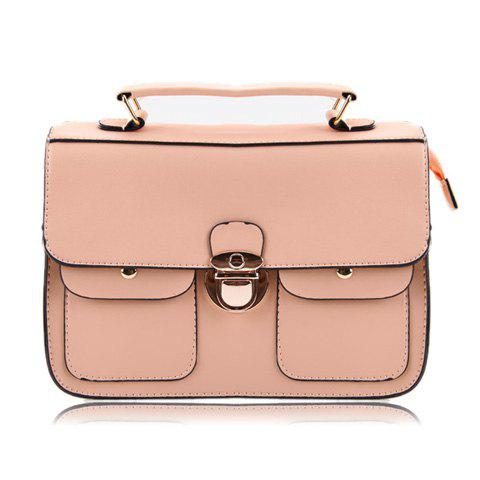 Stylish Casual PU Leather and Push-Lock Closure Design Women's Tote Bag - PINK
