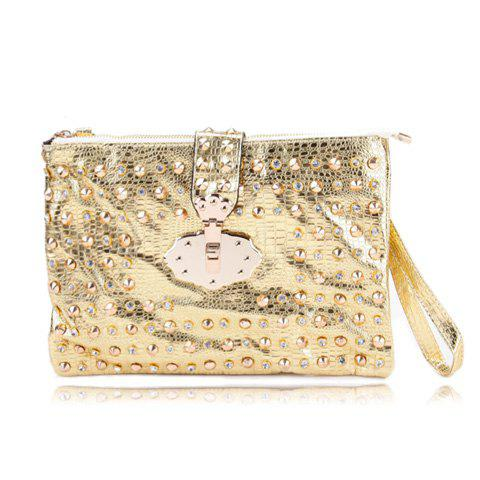 Stylish Style Party Rivets and Metallic Design Women's Clutch - YELLOW