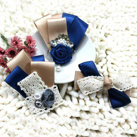 3PCS of Bowknot and Lace Embellished Ribbon Brooches - COLORMIX