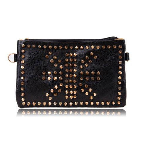 Trendy Style Casual PU Leather Studs and Zipper Design Women's Clutch - BLACK