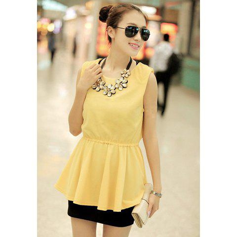 High-Waist Solid Color Chiffon Sweet Style Scoop Neck Sleeveless Women's Blouse - YELLOW M
