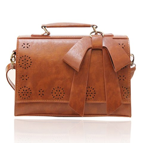Casual Bow and Solid Color Design Tote Bag For Women - BROWN