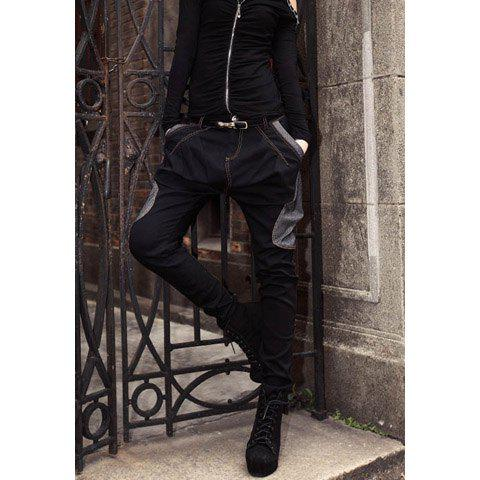 Women's Street Style Denim Splicing Popular Harem Pants - BLACK L