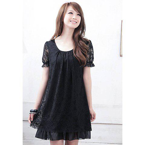 Scoop Neck Short Sleeves Sweet Style Chiffon Lace Voile Splicing Women's Dress - BLACK L