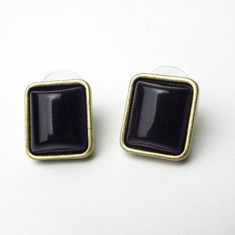 Pair of Rectangle Alloy Earrings - BLACK ONE SIZE