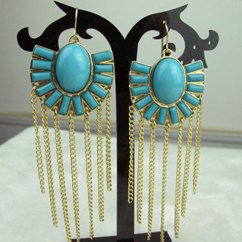 Pair of Exquisite Fan Shaped Long Tassels Women's Alloy Earrings - BLUE