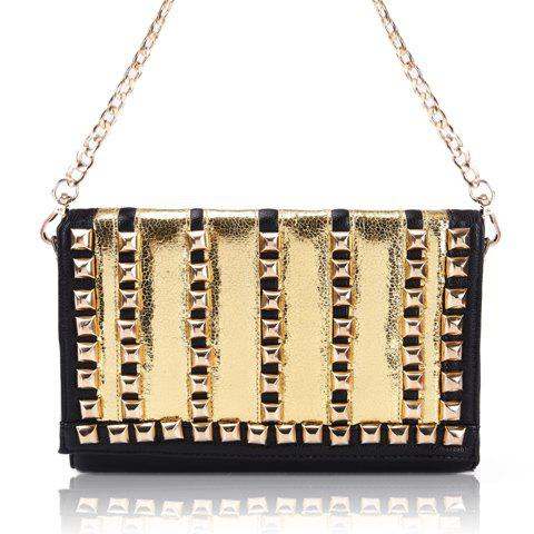 Party Rivets and Color Block Design Women's Shoulder Bag - GOLD