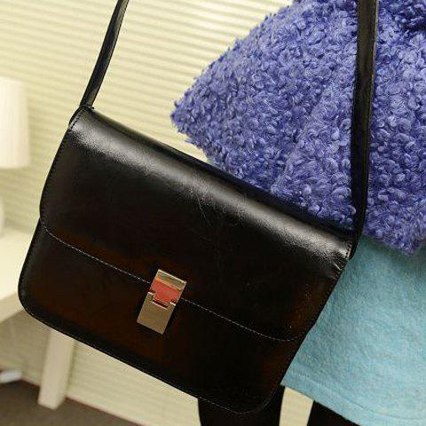 New Arrival PU Leather Vintage Style and Solid Color Design Crossbody Bag For Women - BLACK