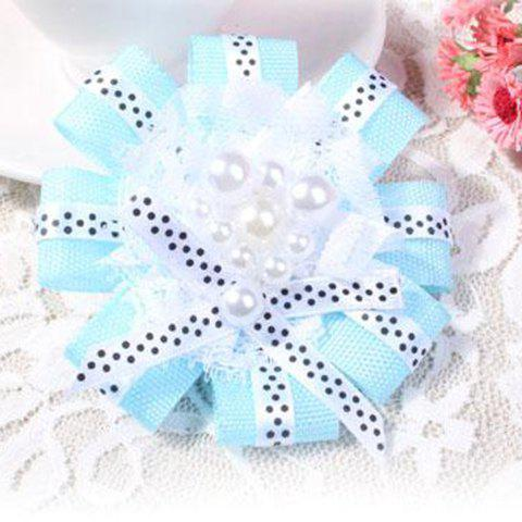 Cute Faux Pearl Embellished Flower Shaped Lace Ribbon Brooch For Women - BLUE