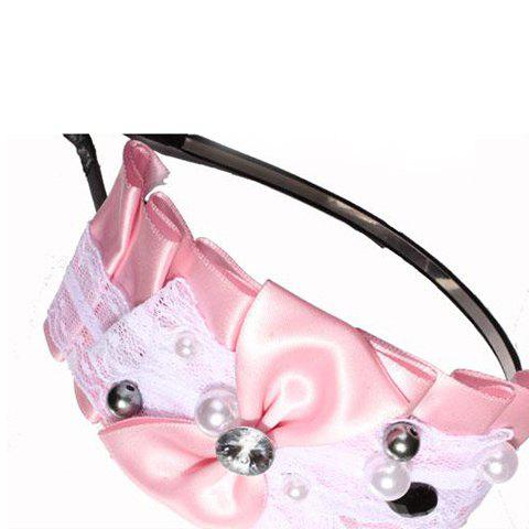 Fashionable Sweet Style Pearl Lace Bowknot Embellished Hair Band For Women - PINK