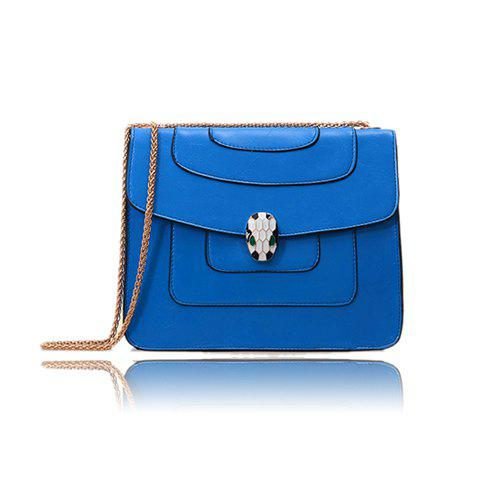 Fashion and Casual Style Solid Color and Metal Chain Design Women's Shoulder Bag - SAPPHIRE BLUE