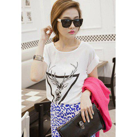 Women's Relaxed Scoop Neck Sika Deer Pattern Chiffon Summer T-Shirt - WHITE ONE SIZE