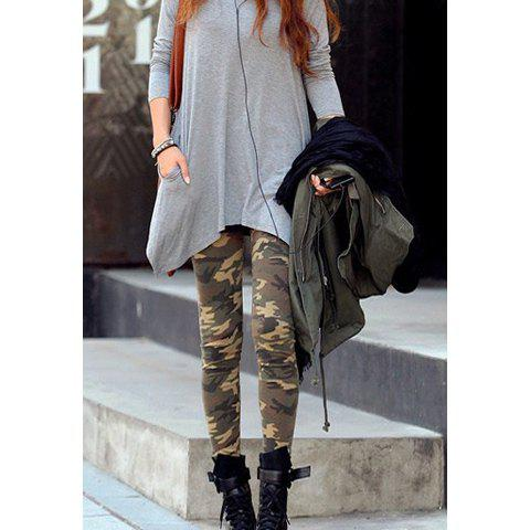 Women's Fashionable Camouflage Pattern Slim Fit Leggings - ARMY GREEN ONE SIZE