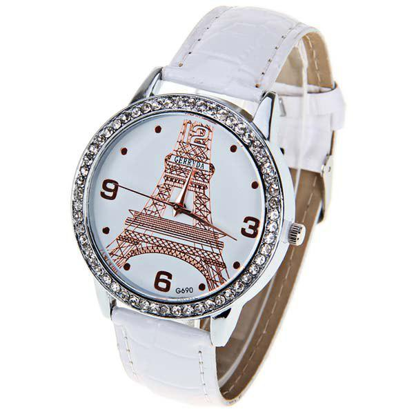 Gerryda Quartz Watch with 4 Numbers and Dots Indicate Leather Watchband for Women (Plum) - WHITE