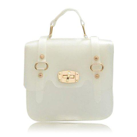 Casual Style Candy Color and Metal Embellishment Design Women's Cross-Body Bag - WHITE