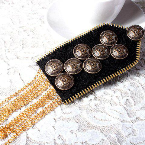 Dashibg Alloy Button Embellished Badge Shaped Long Tassels Cloth Brooch For Men - AS THE PICTURE