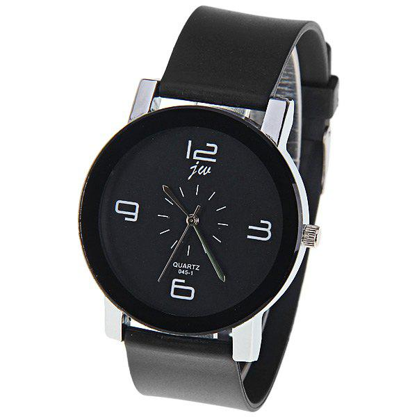 JW Quartz Watch with 4 Numbers Indicate Dial Rubber Watchband for Women - Black