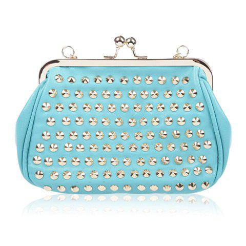 Party Rivets Design Kiss Lock Closure Shoulder Bag For Women - BLUE