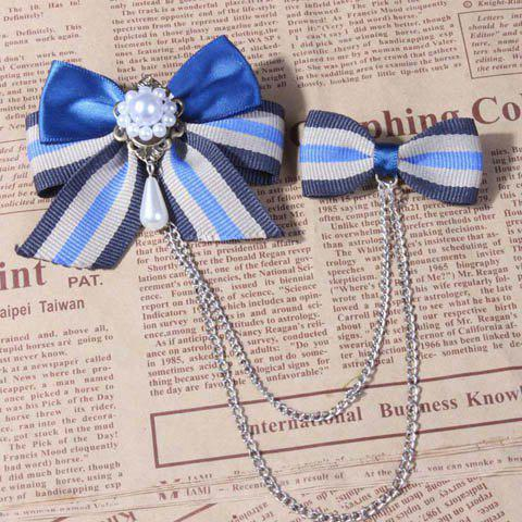 Preppy Asymmetric Tassels and Double Bowknots Embellished Women's Pearl Brooch - AS THE PICTURE