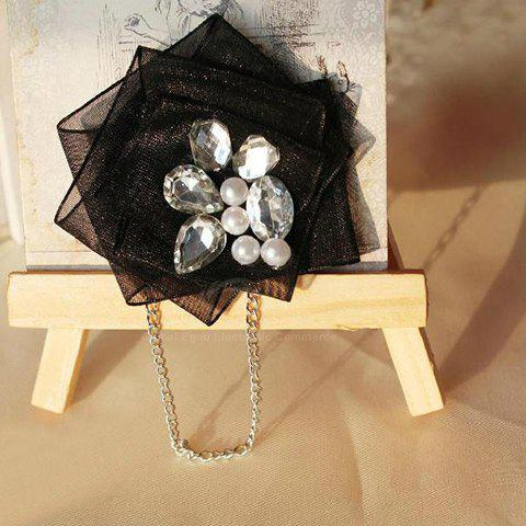 Romantic Rhinestoned Faux Pearl Lace Brooch For Women