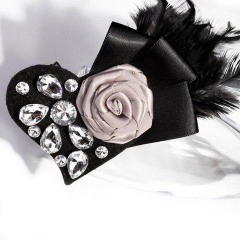 Stunning Handmade Rose and Rhinestone Embellished Women's Feather Brooch - GRAY