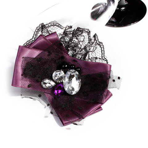Gorgeous Lace Polka Dot and Rhinestone Embellished Brooch For Women - PURPLE