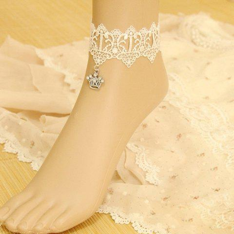 Crown Shaped Pendant Lace Anklet - WHITE