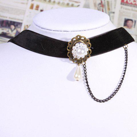 Gothic Style Flower Shape and Pearl Pendant Embellished Women's Fringe Necklace