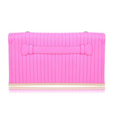 Laconic Style Candy Color and Stitching Design Women's Clutch - ROSE