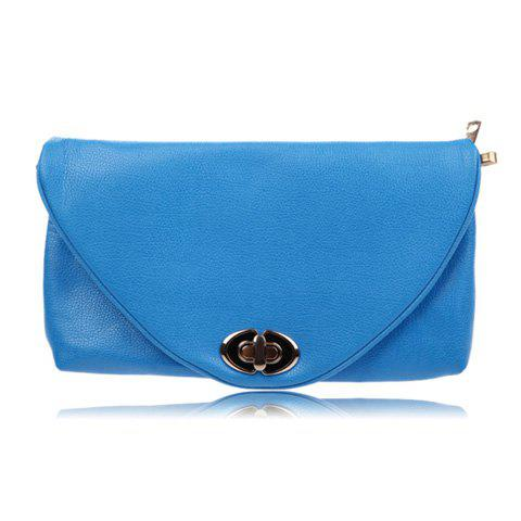New Arrival Pure Color and Twist-Lock Closure Design Clutch For Women - BLUE