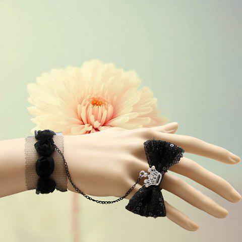 Elegant Lace Flowers and Gauze Decorated Women's Bracelet With Bowknot Ring - BLACK ONE SIZE