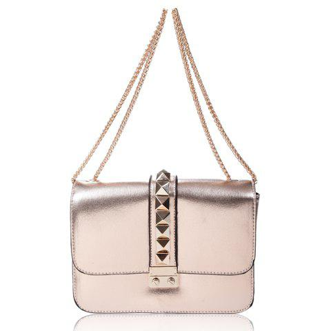 Casual Rivets and Metallic Chain Design Women's Shoulder Bag - CHAMPAGNE