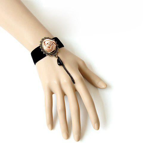 Vintage Rose and Bead Pendant Embellished Women's Tassel Bracelet - BLACK
