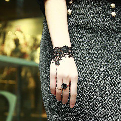 Lace Jacquard Embellished Bracelet With Flower Shape Ring - BLACK ONE SIZE