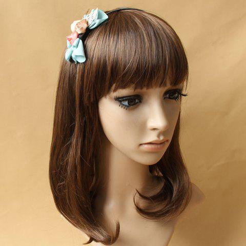 Ladylike Flowers and Golden Leaves Embellished Bowknot Hair Band For Women - BLUE