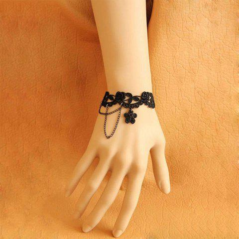Chic Jacquard and Lace Flower Pendant Embellished Tassels Bracelet For Women
