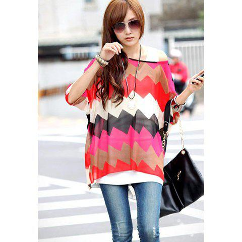 Women's Plus Size Sawtooth Print Batwing Sleeve Chiffon Blouse - AS THE PICTURE L
