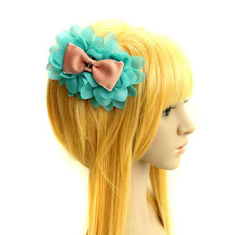 Vivid Multi-Layered Chiffon Flower and Bowknot Embellished Hair Band For Women - GREEN