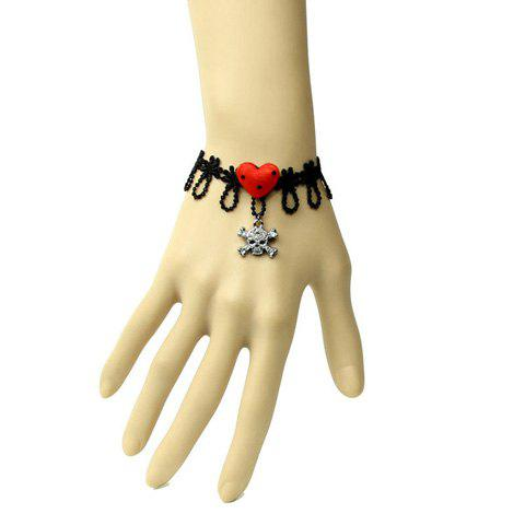 Punk Style Dot Heart Shape and Alloy Pendant Decorated Women's Lace Bracelet - BLACK