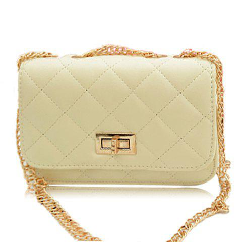 New Arrival Metal Chain and Candy Color Design Shoulder Bag For Women - BEIGE